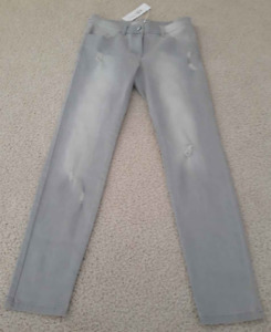"""Stefanel Gray Distressed Jeans size 27 Women/Jrs 29"""" inseam New NWT"""