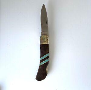 """Santa-Fe Stoneworks 5"""" Lockback Folding Jack Knife Turquoise Wood......190"""