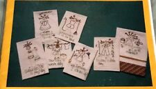 WHIMSY Embroidery Pattern WEEK MINDED TOWELS Days of the Week Clean Sing Market