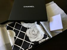 Brand New Chanel Silk Scarf Black Classic Designer Luxury