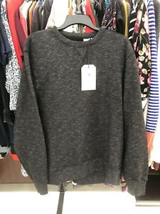 NWT $128 Levis Made & Crafted Crew Sweater Sweatshirt XxL Black Speckled Crew