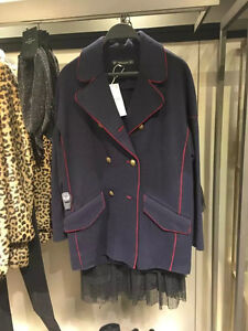 SALE!! ZARA 70%wool Military Double breasted Coat Jacket Navy Blue Size XS S M L