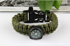 Paracord Survival Bracelet Compass Whistle Camping Gear/Kit to