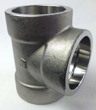 "SOCKET WELD 2"" PIPE HIGH PRESSURE STAINLESS STEEL TEE 3-WAY FITTING FREE SHIP"