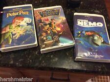 3 Walt Disney VHS movies PETER PAN TREASURE PLANET Pixar FINDING NEMO