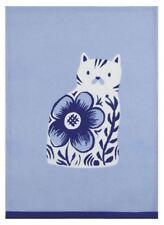 Sarah Watts Blue Floral Cat Delftware Print Designer Kitchen Dish Hand Tea Towel