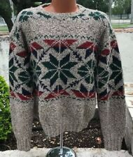 Vintage 90's Polo Ralph Lauren Knit Snowflake Sweater Wool Silk Mens Large