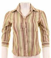 BENETTON Womens Shirt 3/4 Sleeve Size 6 XS Multicoloured Striped Cotton