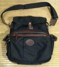 Filson Black Computer Laptop Bag Leather Trim Shoulder Strap Nylon Canvas AS IS