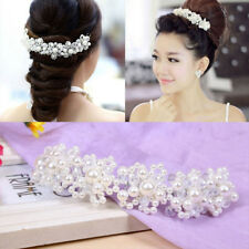 Bridal Wedding Headband Crystal Flower Tiara Crown Pearl Rhinestone Hair Band
