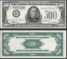 Us $500 Dollar Bill, Series 1934
