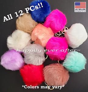 Pompom Keychain, Fur Fashion Key chain - WHOLESALE LOT 12 PCs, US SELLER!