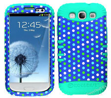 KoolKase Hybrid Silicone Cover Case for Samsung Galaxy S3 - Polka Dots Blue