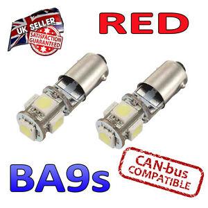 2 X BA9s Rouge Canbus LED Numéro Plaque Intérieur Clignotant 5 SMD Ampoules 233