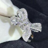 Sunshine 925 Silver Rings for Women White Sapphire Wedding Band Ring # 6-10 UK