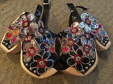 Jeffrey Campbell Shoes with Black Patent and Rainbow Floral Detail size 5