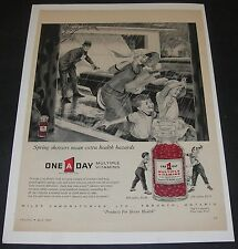 Print Ad 1960 HEALTH One A Day Multiple VITAMINS Americana ART spring shower