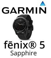 Garmin Fenix 5 Saphir Schwarz GPS Uhr mit Schwarz Band Multi Sport Handgelenk HR