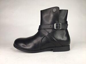Birkenstock Womens Collins Sz 6-6.5 Black Leather Side Zip Fashion Boots