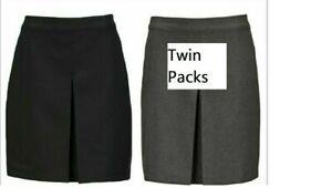 BHS Girls ((TWIN PACK)) Pleat School Uniform Skirt Grey Black Age 11 12 14 Years