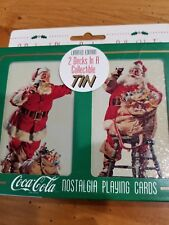 1995 COCA-COLA, COLLECTORS TIN, 2 SEALED DECKS SANTA NOSTALGIA PLAYING CARDS,NEW