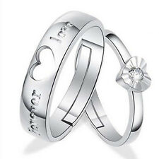 2pcs Lovers Heart Silver Crystal Couple Rings Her and His Promise Gift.