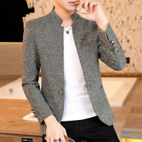 Men's Slim Fit Business Coat One Button Jacket Blazer Outwear Long Sleeve Casual