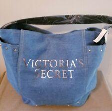 NWT $58 Victoria's Secret Large Blue Denim Tote Bag w/Silver Foil Graphics