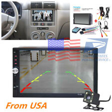 "7"" HD 2 Din Car MP5 Player Bluetooth Touch Screen Stereo Radio+Rear Camera Kits"