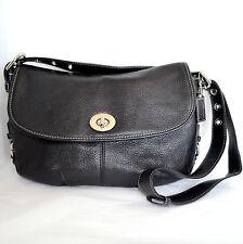Coach Flap Duffle Black Leather Handbag Hobo Satchel Shoulder Bag Purse F15170