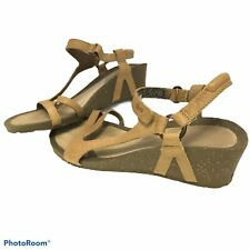 """Teva Sandals Womens Size 8.5 Cabrillo Tan Leather 2"""" Wedge Ankle Strap Free Ship"""