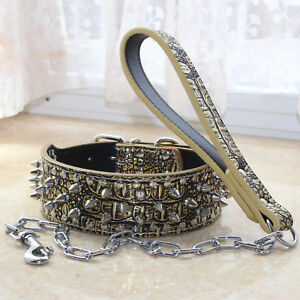 Gray Spiked Studded Dog Pit Bull Mastiff Leather Neck Strap Collar+Chain Leash