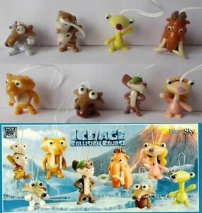 ICE AGE COLLISION COURSE COMPLETE SET OF 8 WITH ALL PAPERS KINDER SURPRISE 2016