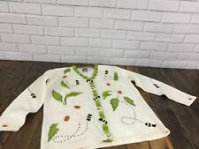 White Daisy Storybook Knits M Sweater Buttondown Cardigan Flower Appliques Bees