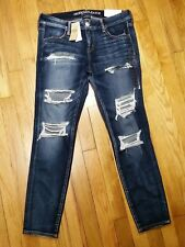 American Eagle Super Low Jegging Jeans Size 12 r Destroyed Super Stretch X NWT