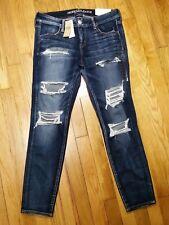 American Eagle Super Low Jegging Jeans Size 10 Short Destroyed Super Stretch NWT