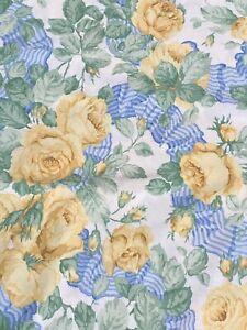 SANDERSON 'Garland of Roses' Lemon Yellow & Blue King Size Duvet Set & 2 Cases