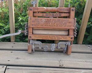 Antique Anchor 10x1¾ Brand Washing Machine Ringer Hand Crank  USA #10 GREAT Cond