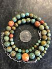 Sterling Silver Jay King Turquoise Spiny Oyster Graduated Bead Necklace 925 DTR