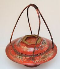 ANTIQUE CHINESE WOODEN WEDDING BASKET HAND PAINTED RED
