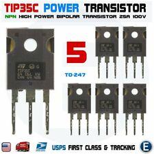 5pcs Tip35c Tip35 Npn High Power Transistor 25a 100v Bipolar To 247 Usa
