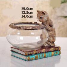 D4 Resin Brown Cat Glass Fish Tank Bedroom Living Room Desktop Decor 29X24CM Z