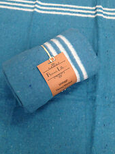 Luxury Blanket Throw Heavy Warm and Soft - Large Pale Blue With White Stripe