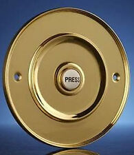 "Wired Door Bell Push, Flush Fitting, Brass 100mm (4"") Model 2207P3Bs"