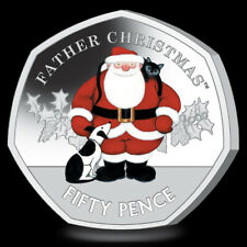 GIBRALTAR 50 Pence 2019 Silver Proof Piedfort 'Father Christmas' Mtg.1,500