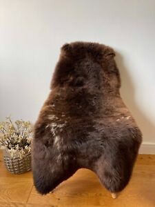 XL Large Genuine Merino Sheepskin Sheep Fur Rug Nat. Dark Chocolate Brown/White