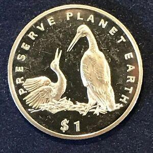 Liberia 1$ 1995 Preserve the Planet Storks Birds KM#136 CuNi BU Details