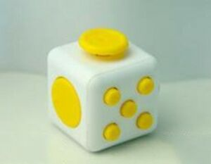 YELLOW/WHITE Magic Fidget 6-Side Cube Anxiety Stress Relief Spinner Adults Kids
