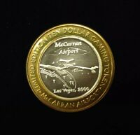 $10 .999 SILVER McCARRAN AIRPORT LAS VEGAS LIMITED EDITION CASINO TOKEN Lot#AA82