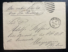 1885 Trinidad Official Diplomatic Cover To Vice Consul Mayaguca Puerto Rico